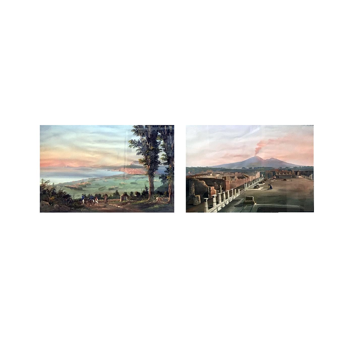 "Italian School ""View of Pompeii"" and ""View Of Naples"" circa 1880"