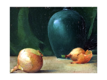 American School Impressionist Painter Still life with Onions and Vase, c.1920 Oil on canvas board 7 x 10 inches