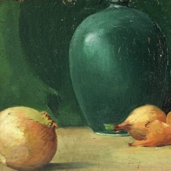 "American School Impressionist painting ""Still life with Onions and Vase"" circa 1920"