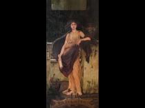 Robert Van Sewell [1860-1924] American Art Nouveau Illustrator Sapientia, c.1890 Oil on canvas 43 x 21 inches