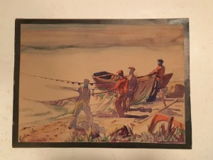 American School Fave Painting Signed Illegibly and Dated Fishermen Pulling in Nets, 1930 Watercolor 8 x 11 inches