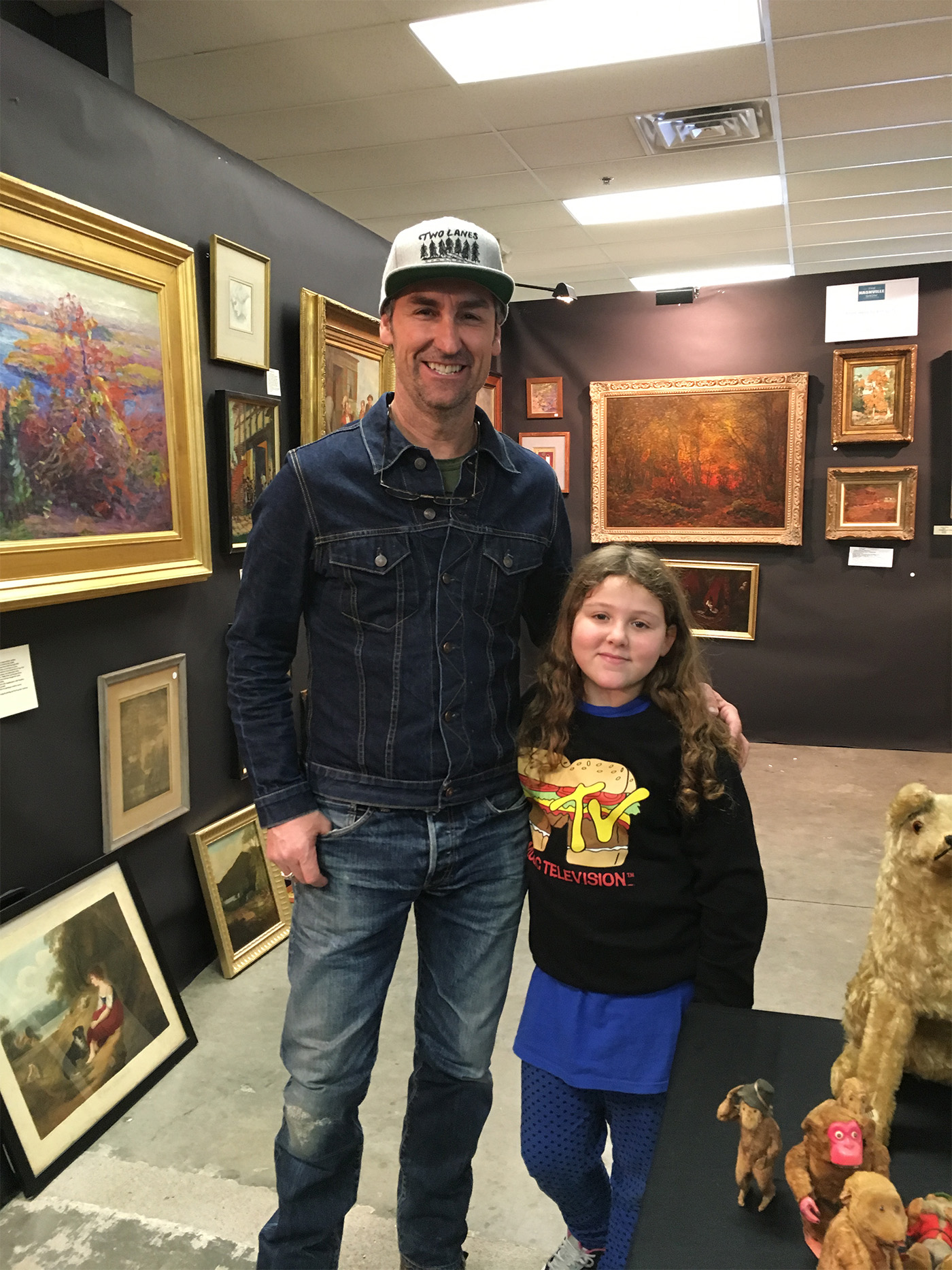 Mike Wolf American Pickers with young budding antique dealer Catalina Smernoff daughter of David Smernoff of From Here To Antiquity