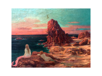 "Aime Stevens [1876-1951] Belgium Impressionist Painter ""Mermaids Watching the Sunset"" circa 1910"