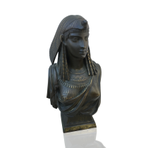 "Egyptian Revival French or American Cleopatra, c.1890-1900 Bronze 6 L x 5 W x 13 H inches Pierre Eugene Emile Herbert (1828-1893) French sculptor of Egyptian Revival Bronze of ""Cleopatra"" circa 1870-80"