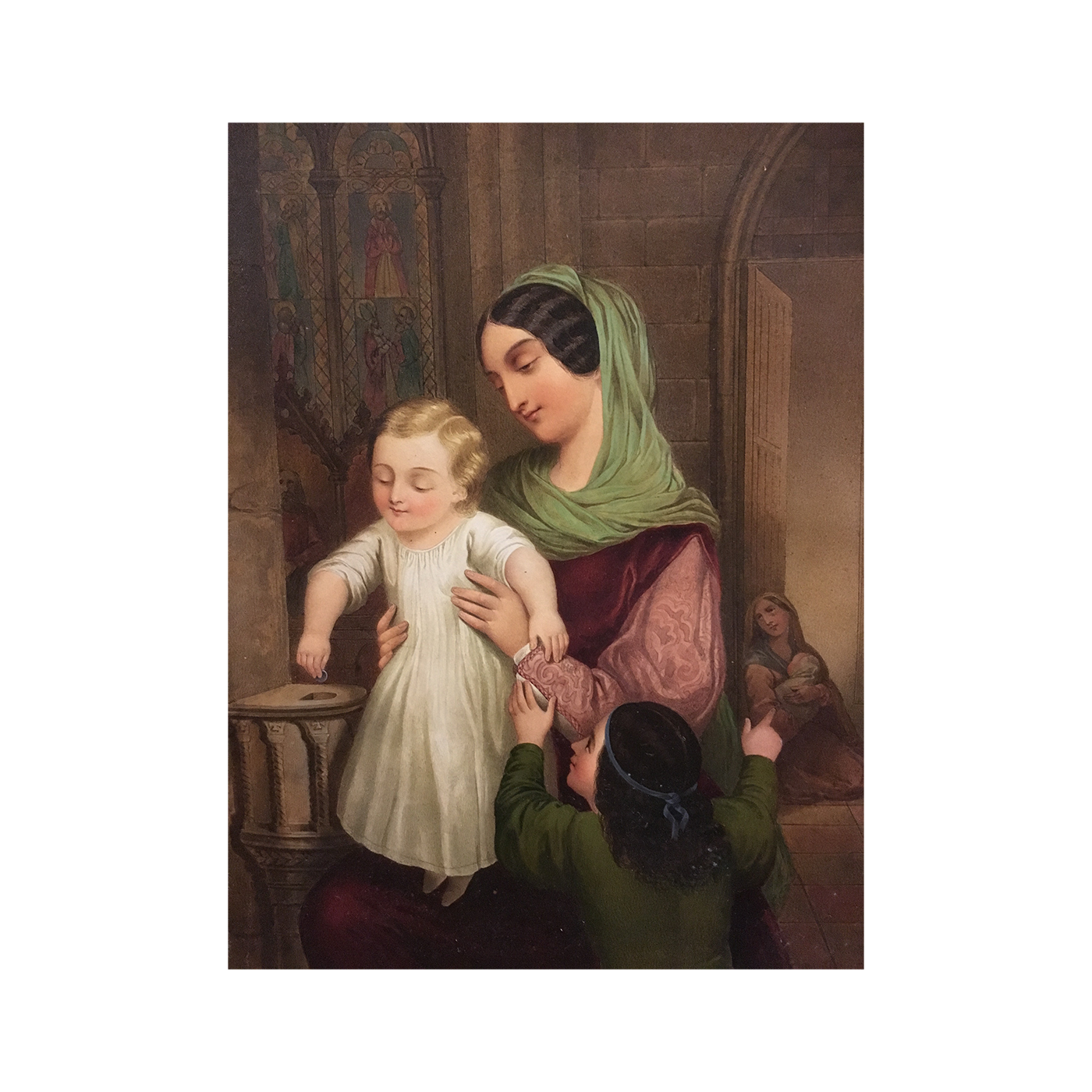 Heloise Suzanne Leloir [1820-1873] French Illustrator Mother and Child, Adolf Sheer, 1849 watercolor 11-3/4 x 14-3/4 inches