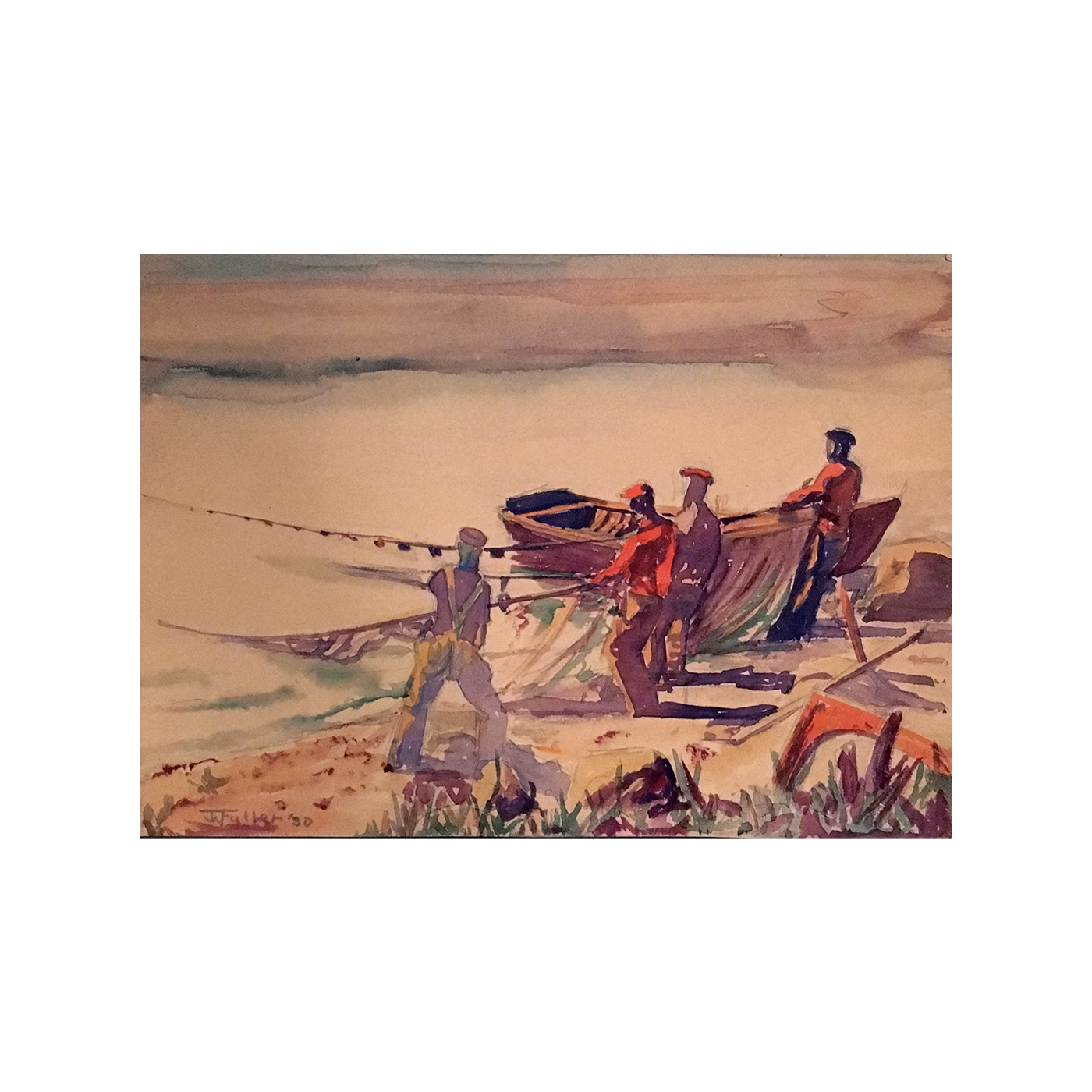 "American School Fave Watercolor Signed Illegibly ""Fishermen Pulling in Nets"" 1930"