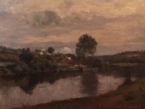 Matthijs Maris [1872-1929] Dutch Impressionist Landscape Painter Figure by the Lake, 1919 Oil on board 10-1/2 L x 8-1/2 H inches