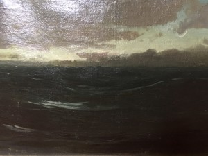 Gutzon Borglum [1867-1941] American Sculptor/Artist Tonalist Seascape, 1897 Signed lower right & dated. Oil on canvas 22 L x 14 H inches