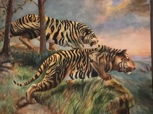 """Mary Owen [late 19th/early 20th century] Impressionist Artist """"Tigers on the Hunt"""" circa 1919"""