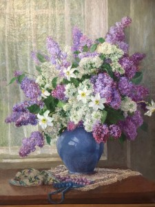 "Katherine Almond Hulbert (1859-1939) American Impressionist painting ""lilacs by the Window"" circa 1930"