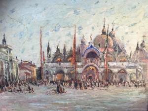 "Anne Minor (1864-1947) American Impressionist painting""St Mark's square Venice Italy "" circa 1915"