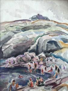 """Bernard Gussow (1881-1957) Russian/American Modernist painter """"Figures at the Shore"""" circa 1920-30"""
