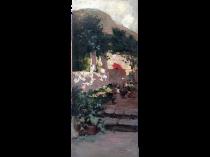 "Francisco Jover Casanova (1836 - 1890) Spanish Painter ""The Red Umbrella"" circa 187Spanish School Impressionist Landscape Painter The Red Umbrella, c.1880 Oil on canvas 28-1/2 x 13 inches"