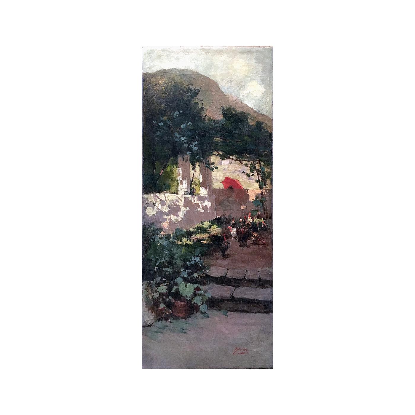"Francisco Jover Casanova  (1836 – 1890)  Spanish Painter ""The Red Umbrella""  circa 1870"