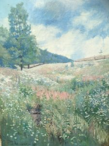 "Wilfred Thompson (active 1884-1921) British/American impressionist landscape painting ""Summer Flowers"" circa 1906"