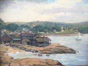 "Jacob Greenleaf(1887-1968) american Impressionist painter ""Bearskin Neck,Rockport Mass.circa 1937"
