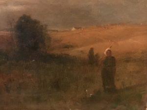 "Benjamin Eggleston (1867-1937) American Tonalist Barbizon Impressionist painting ""Stubble-Fields ,Evening near Lake Erie,Ohio"" circa 1870"