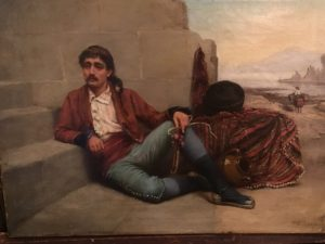 "English School, Academic Mediterranean genre painting of Gentleman "" Having a Cigarette"" circa 1894"