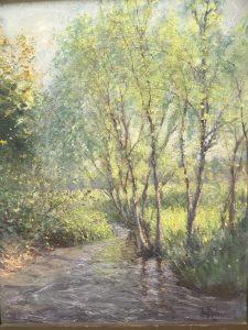 "Hal Robinson (1867-1933) American Impressionist Tonalist painting ""Forest Glow"" circa 1920"