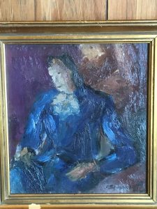 "Felix Stessel (1893-1967) Argentina modernist abstract painting ""Lady in Blue"" circa 1940"