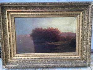 "American School Luminous Impressionist painting ""Picnic on the Hudson"" circa 1870"