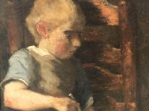 """Jacob Simon Hendrik Kever (1854-1922 ) Dutch artist Impressionist ashcan style painter """"Young boy sleeping with pipe"""" circa 1890"""