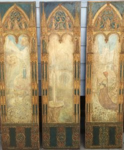 Luigi M Bonpensiere (1885-?) New York artist Gothic ,Symbolist, Aesthetic movement set of three sculptured and painted panels, circa 1910