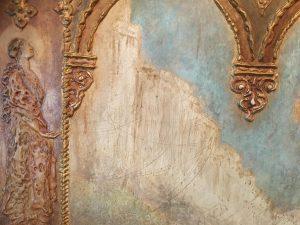 Luigi M Bonpensiere (1885-?) New York artist Gothic ,Symbolist, Aesthetic movement set of three sculptured and painted panels, circa 1910
