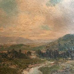 "Louis Delius (19th century) American impressionist painting ""River Landscape ,near Scranton Pennsylvania"" circa 1880"