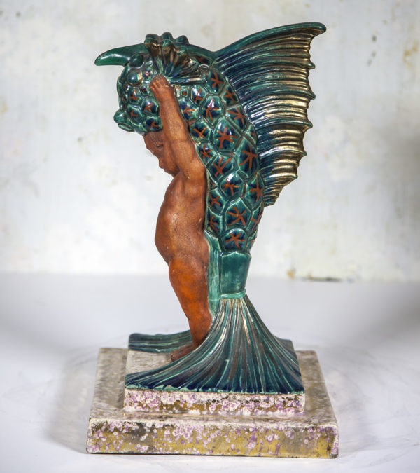 Boulogne France Art Deco Pottery Sculpture of Putti and Dragon Fish circa 1930's