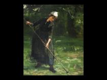 "David Farquharson [1840-1907] Scottish Impressionist Painting ""Woman Tilling the Garden"" circa 1890"