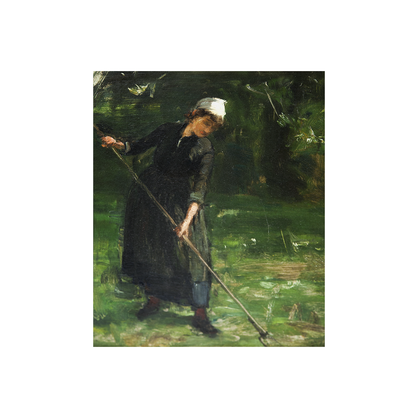 "David Farquharson [1840-1907] Scottish Impressionist Painting ""Woman Tilling the Garden"" circa 1890"