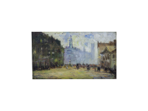 """Alfred Chateau [1833-1908] French Impressionist Painting """"Boulevard Clichy, Paris"""" circa 1890"""