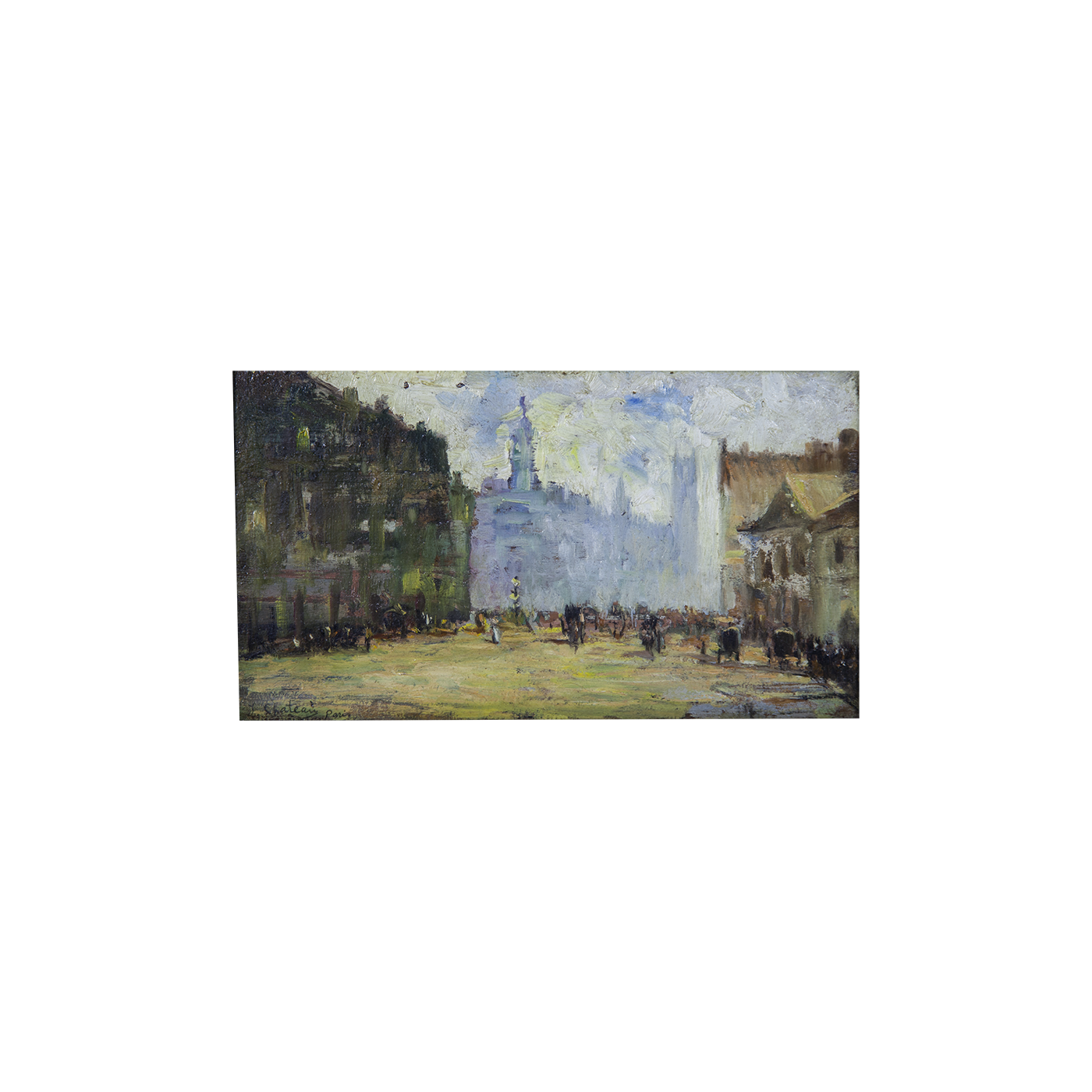 "Alfred Chateau [1833-1908] French Impressionist Painting ""Boulevard Clichy, Paris"" circa 1890"