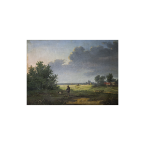 """Pair of Landscapes with Hunter and his Dog """"The Start of the Hut """" and """"The End of the Hunt"""" signed illegabily circa 1840"""