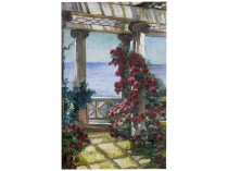 "William de Leftwich Dodge [1867-1935] American Impressionist ""Villa Francesca;Setauket, Long Island"" circa 1900"