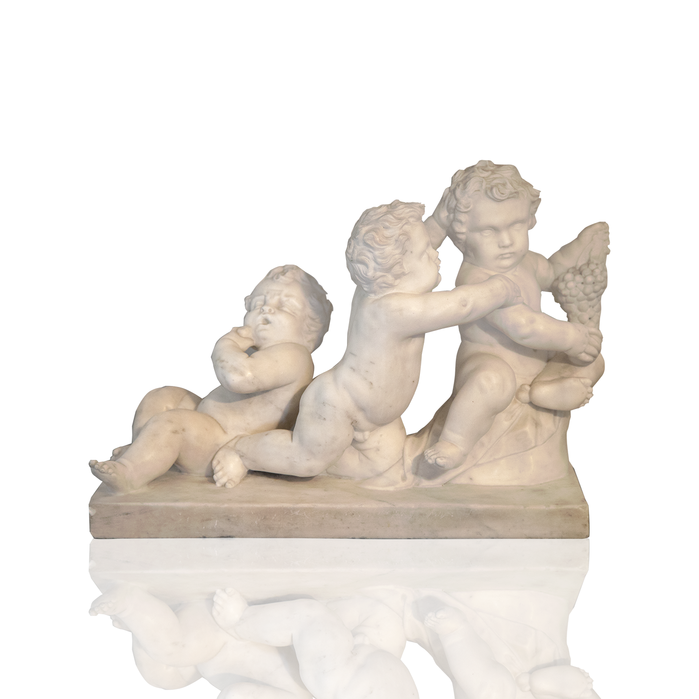 """Hand-carved French marble """"Punti trio"""", 1789."""