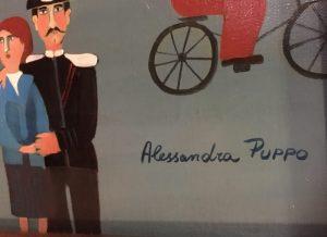 """Alessandra Puppo {1936-} Italian naive artist """"Town Square"""" circa 1960's"""