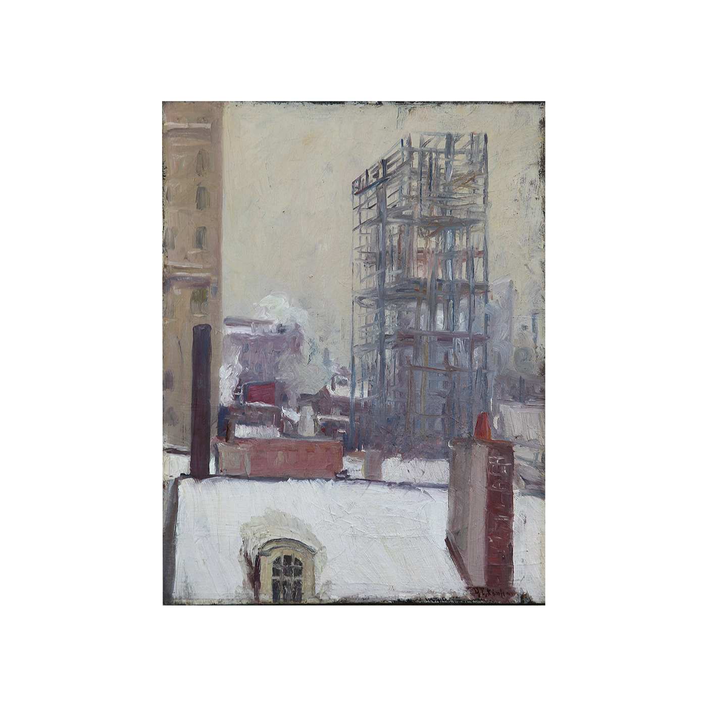 """Bela DeTirefort [1894-1993] American Ash-Can Painting """"Building New York in the Snow"""" circa 1915"""