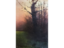 "[unattributed] French School ""Colors of Twilight ""1914 oil on board 10 x 6 1/2 inches signed and tilted illegibly"