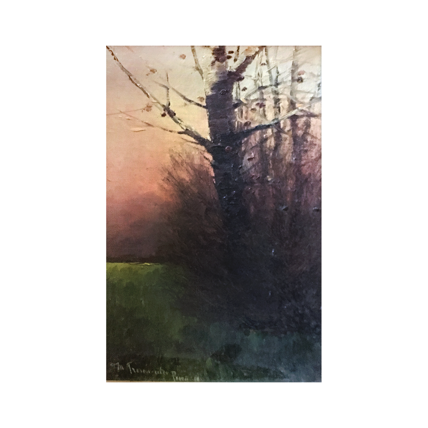 """[unattributed] French School """"Colors of Twilight """"1914 oil on board 10 x 6 1/2 inches signed and tilted illegibly"""