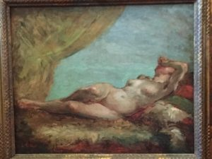 """Charles Victor Tillot [1825-1887] Fsrench Impressionist painting """"Nude on the Couch"""" circa 1880's"""