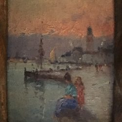 "Marie Joseph Leon IWill [1850 - 1923] French impressionist artist ""Sunset in Venice"" circa 1880"