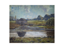 "American School impressionist landscape ""Boat House by the River"" circa 1900"