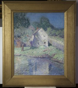 Arthur Schneider [1866-1942] New York / Wisconsin Impressionist Painting House by The Lake, circa 1910