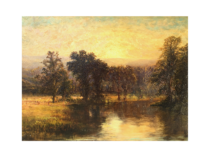 "Unknown Artist ,American Tonalist School ""Sunrise over the Lake"" circa 1880"