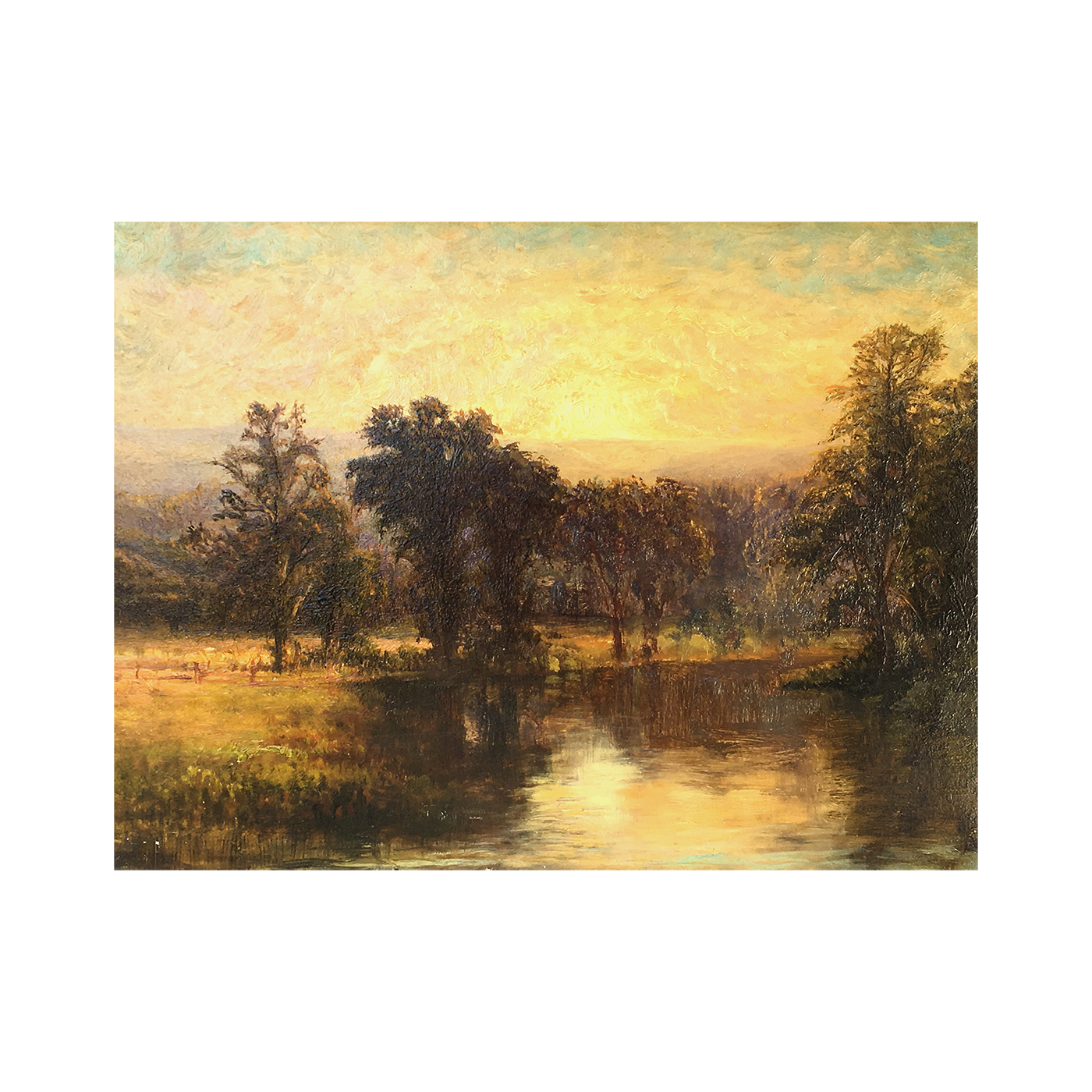 """Unknown Artist ,American Tonalist School """"Sunrise over the Lake"""" circa 1880"""