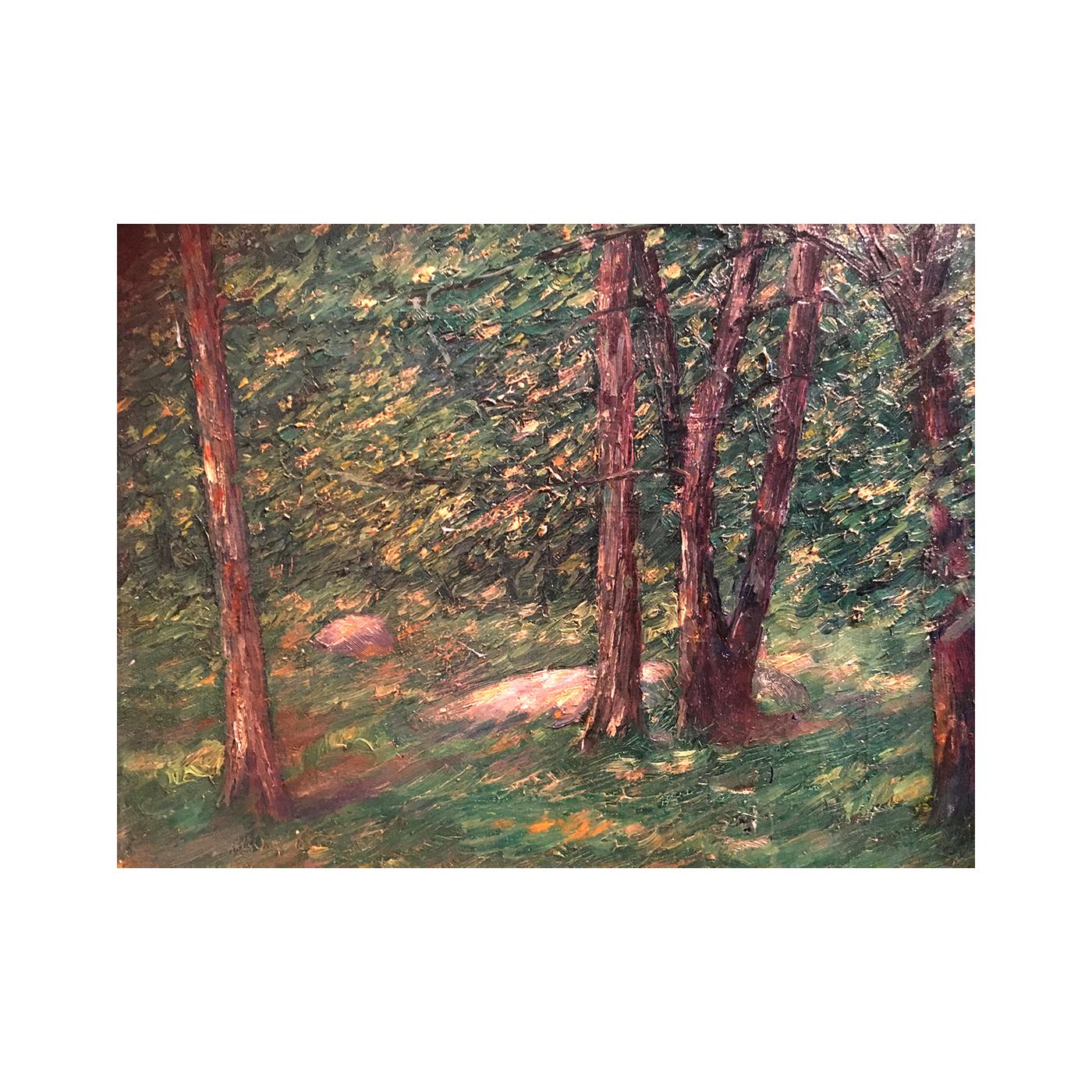 "Frank Fogarty [1887-] New York illustrator impressionist painting""Forest Light"" 1920"