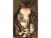 "Unknown American Artist ""Modernist Cat"" Circa 1940"