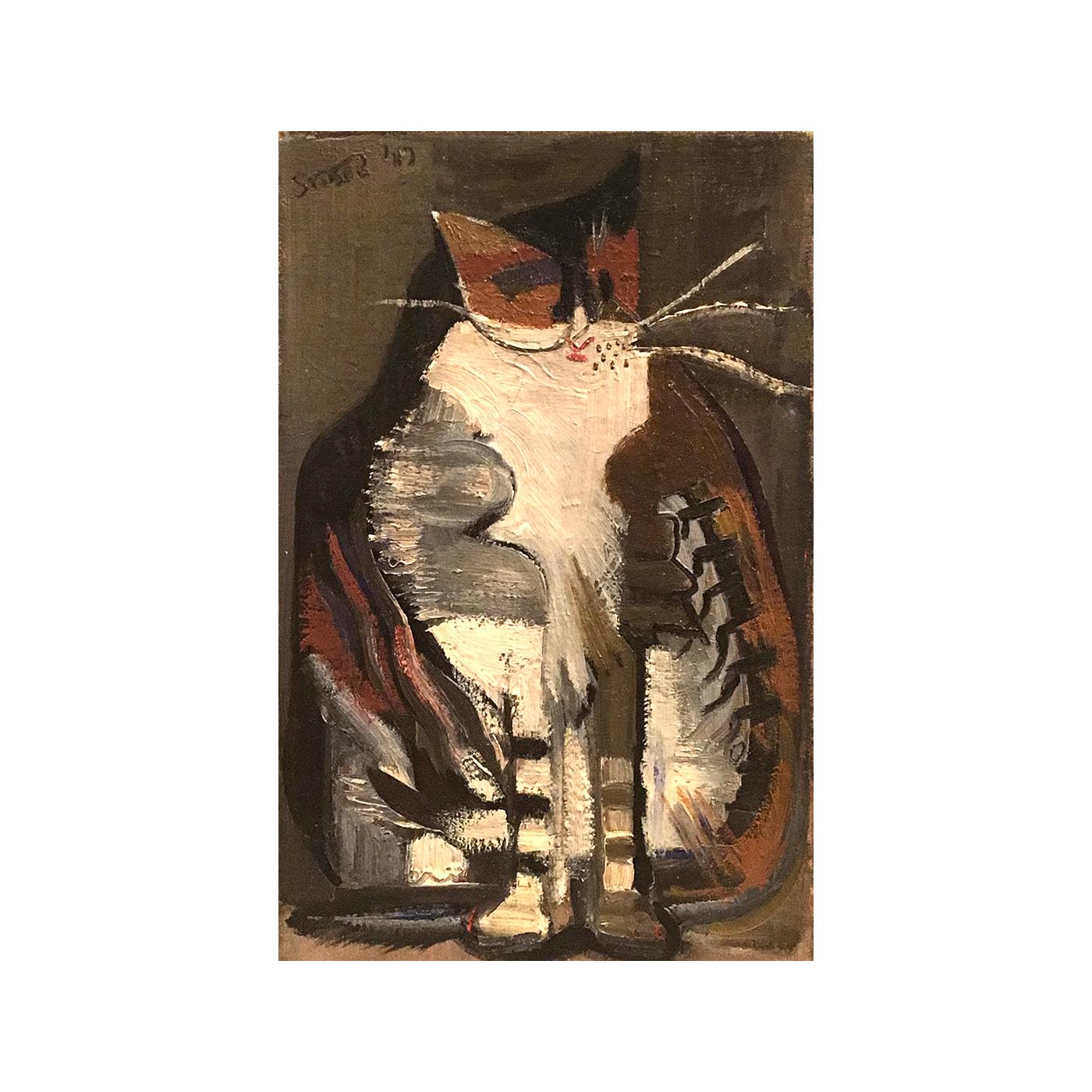 "Unknown American Artist ""Modernist Cat"" Circa 1940"